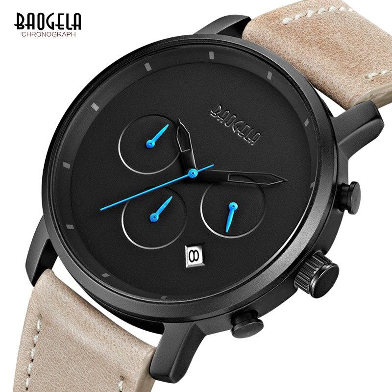 Baogela Männer der Mode Uhr Casual Schwarz Lederband Kinder Sport Quarz Armbanduhren Heißer Verkauf Wasserdichte Uhren Relogio