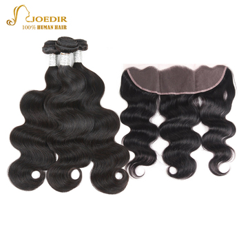 Joedir Hair Brazilian Body Wave Hair Bundles With Lace Frontal Closure Human Hair Weave 3 Remy Bundles With Lace Frontal Closure image