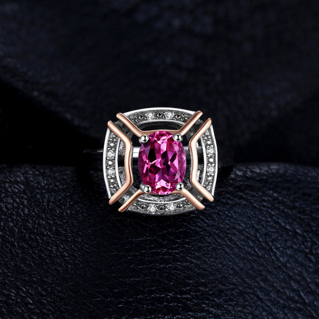 JewelryPalace Classical 1.5ct Oval Shape Genuine Pink Topaz Ring 100% 925 Sterling Silver Wedding Fine Jewelry For Woman