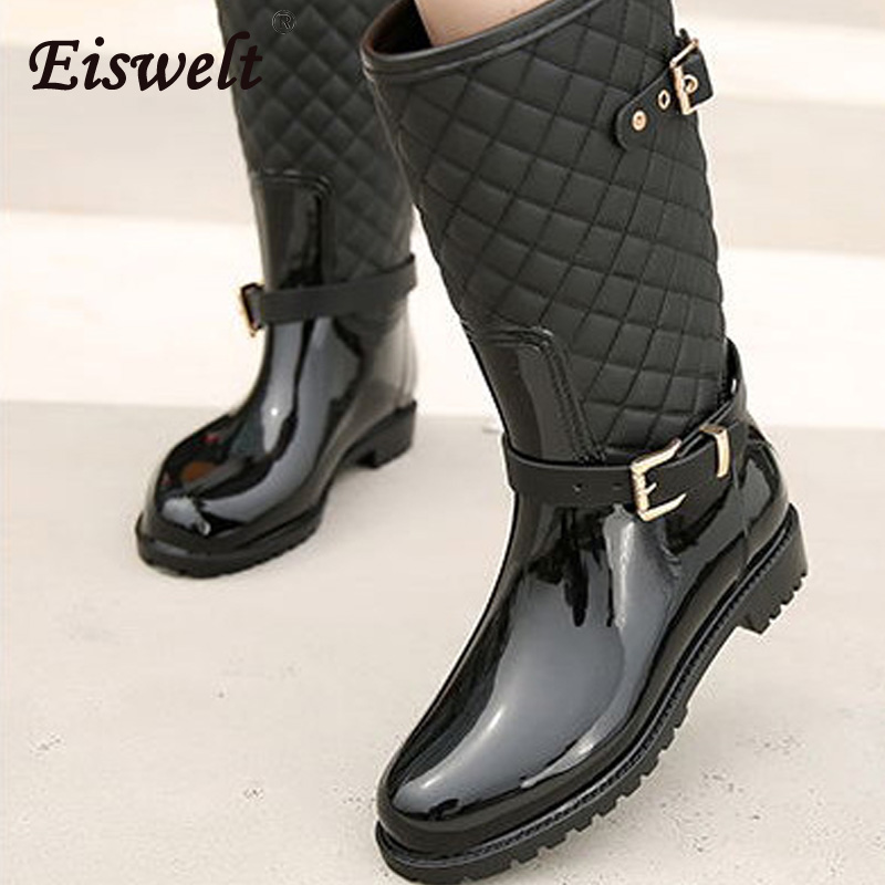 EISWELT 2017 New Women Leather Boots Mid-calf Boot Women Waterproof Rubber Rain Boots Fashion Buckle Ladies Water Shoes#ZQS165 tube in rubber rain boot women rain boots new flat sen in spring and summer women s water shoes boots fashion waterproof