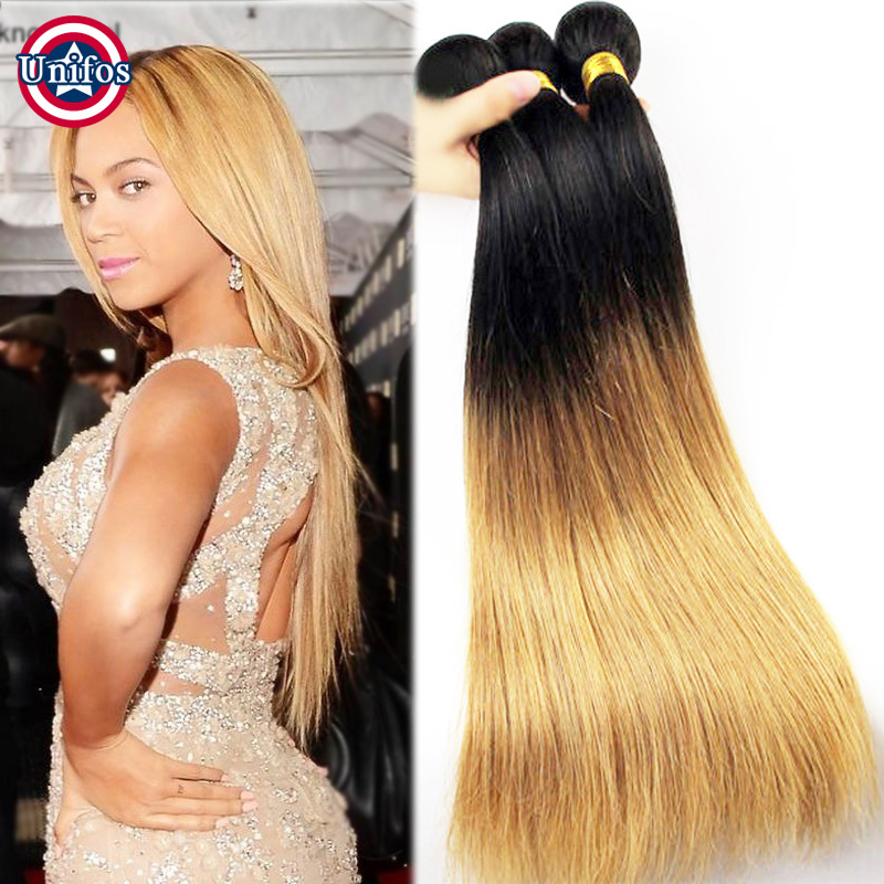 Ombre Blonde Brazilian Hair Weave Bundles Straight Ombre 1b 27 Two