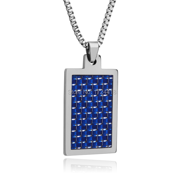 High Quality Never Fade Mens' Necklace Gift Jewelry Tungsten Pendant Inlay Blue Carbon Fiber Free Engraving and Free Shipping