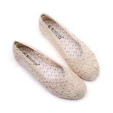 Women Shoes Flat Hollowing Out Comfortable Lace Single Bean Low Soft Beef Tendon Bottom