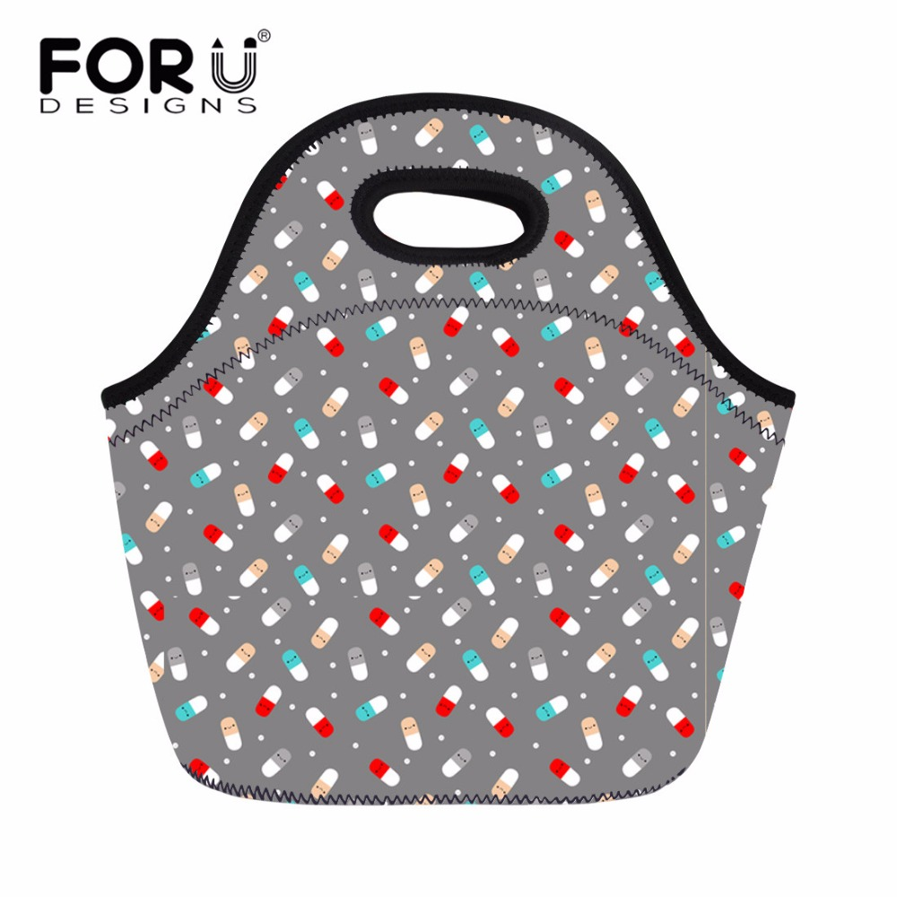 FORUDESIGNS Fashion Neoprene Portable Lunch Bag Funny Design Food Container for Kid Carry Tote Storage Bag Travel Picnic Bags