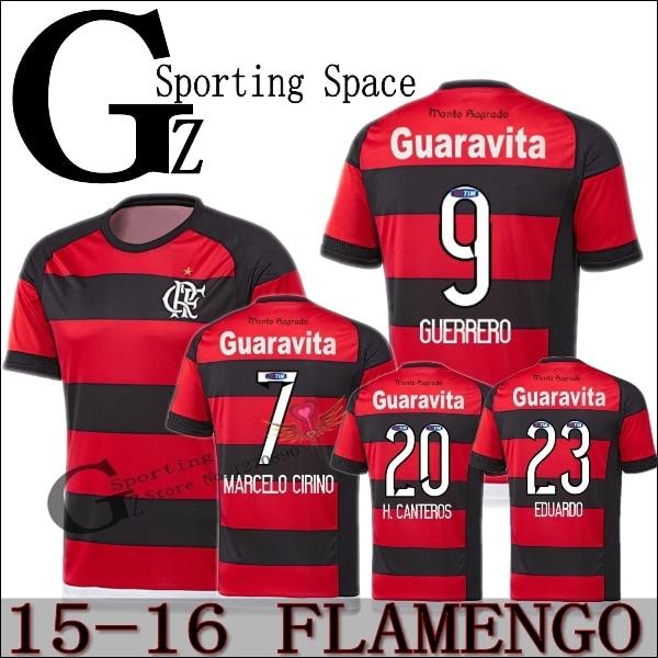 2016 New CR Flamengo 2015 16 Soccer jersey home Third red black Football  shirt Training suit ALECSANDRO EDUARDO ELANO Flamengo-in Soccer Jerseys  from Sports ... 6b102ba1b