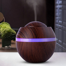 Air Humidifier 500ML 2019 New Ultrasonic Aroma Essential Oil Diffuser with Wood Grain 7 Color Changing LED Night Light Mist Make цена и фото