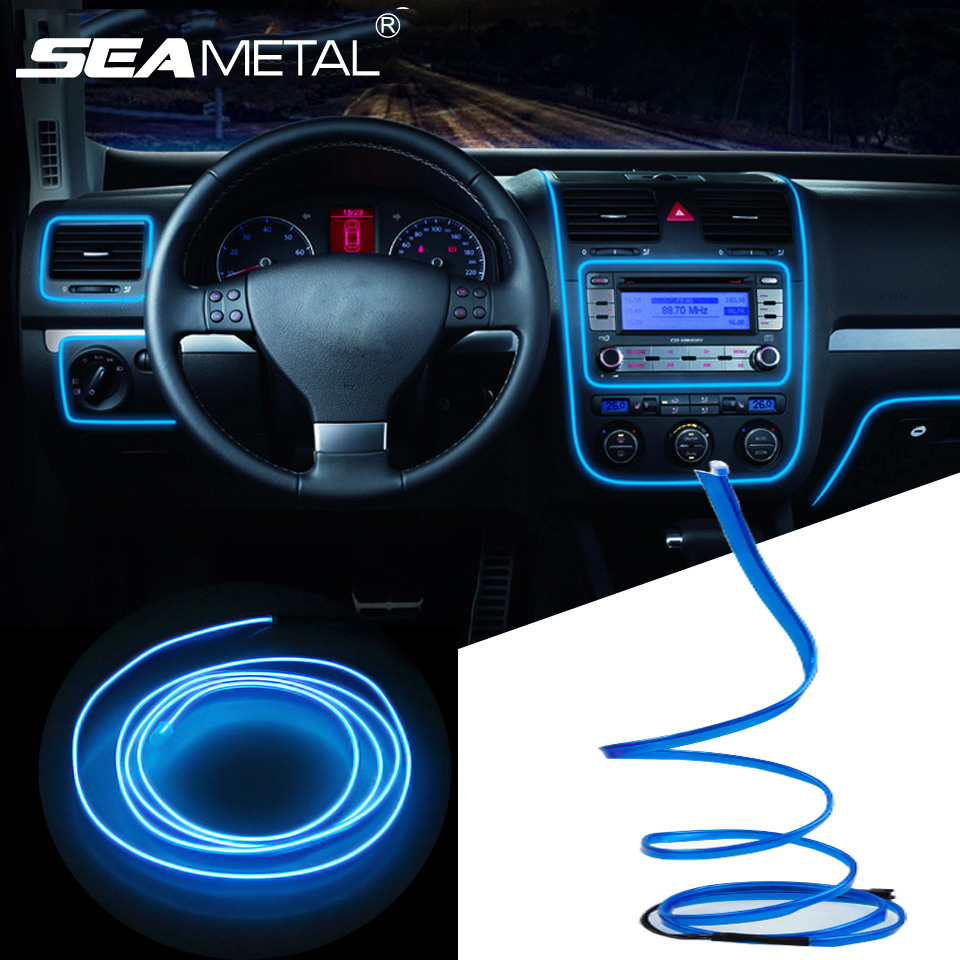 3m/5m Car 12V LED Cold lights Flexible Neon EL Wire Auto Lamps on Car Cold Light Strips Line Interior Decoration Strips lamps 3m neon el wire glowing string light