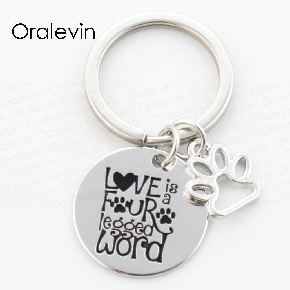 TÌNH YÊU LÀ BỐN CHÂN TỪ Khắc Pet Dog Pawprint Charms Keychain Rescue Dog Lover Quà Tặng Trang Sức 22 MÉT, # LN162K