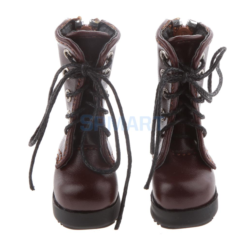 Pair of PU Leather Lace Up Back Zippered Ankle Martin Boots Shoes for 1/6 BJD Dolls цена