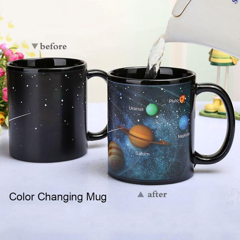 Caneca cerâmica criativa em mudança de cor caneca calor revelando copo de café amigos presente estudante copo do café da manhã estrela sistema solar caneca