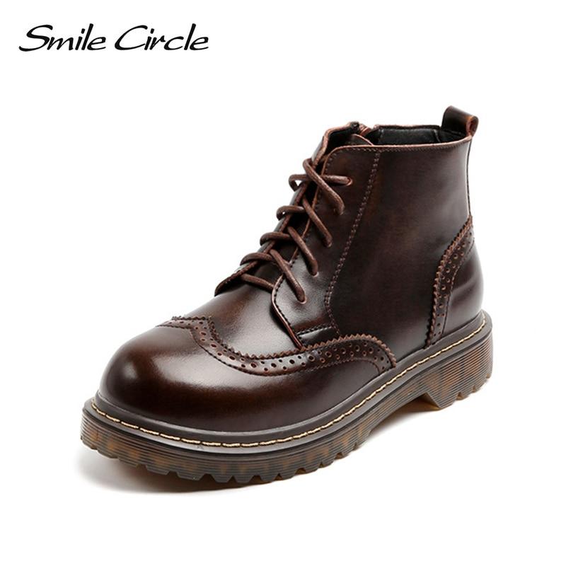 цена Smile Circle Bullock Real Leather Boots Women Winter shoes Warm Fur lace-up Flat Martin boots Comfortable round toe work boots в интернет-магазинах