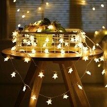 Chasanwan 1 M 10 Light Led Star String Battery Box Garland LED New Year Christmas Decor Fairy Lights Natal Navidad