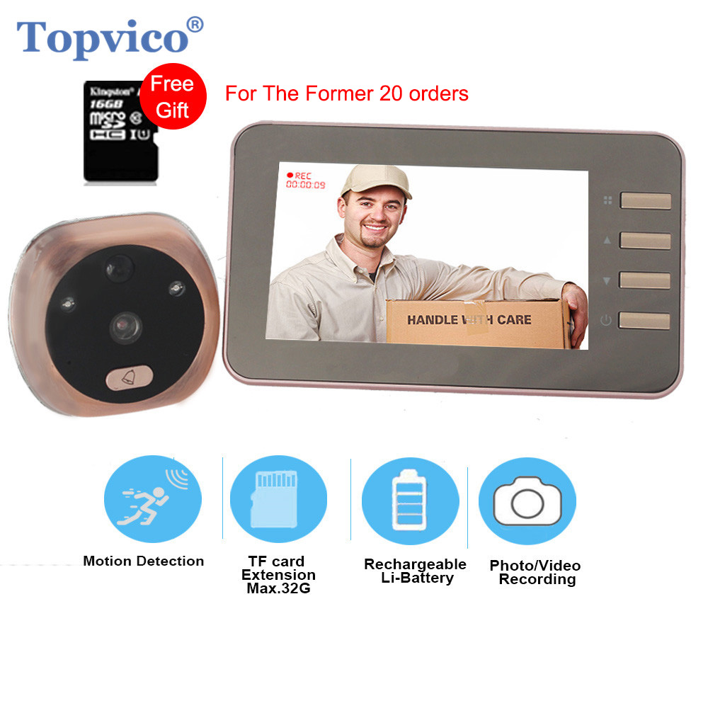 Topvico 4.3 Inch Motion Detection Video Camera Door Peephole Doorbell Electronic Ring Video-Eye Viewer Auto Photo Video Record