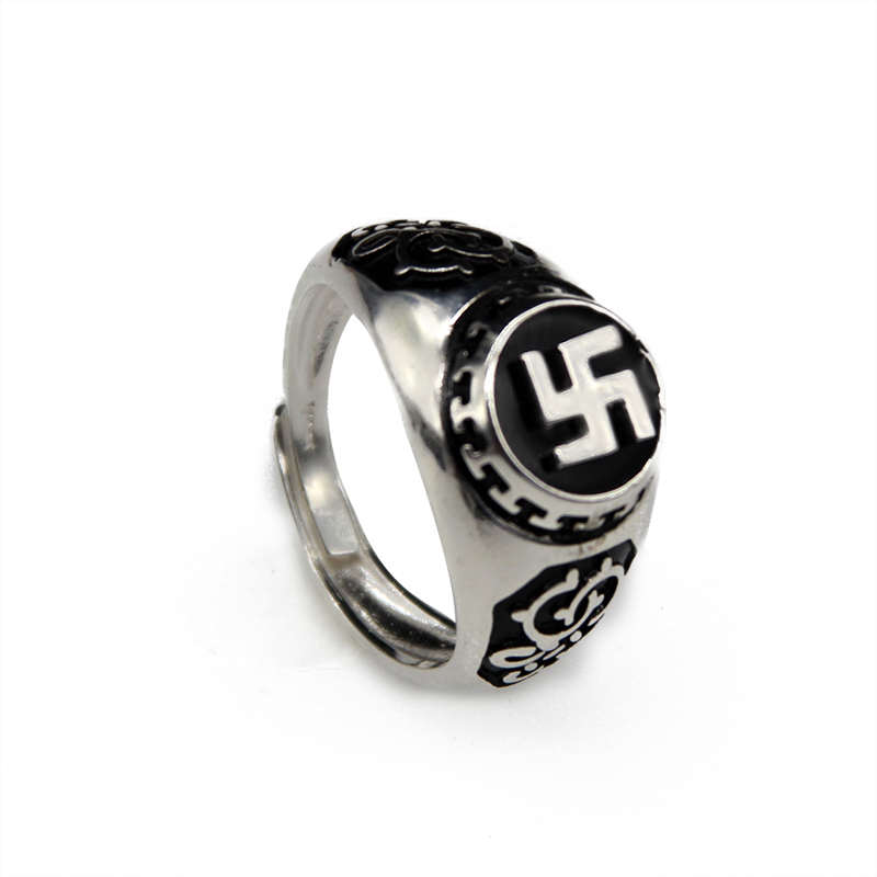 Handcrafted 100% 925 Silver Wanzi Symbol Ring Tibetan Buddhist Vajra Dorje Symbol Ring Good Luck Ring ResizableHandcrafted 100% 925 Silver Wanzi Symbol Ring Tibetan Buddhist Vajra Dorje Symbol Ring Good Luck Ring Resizable