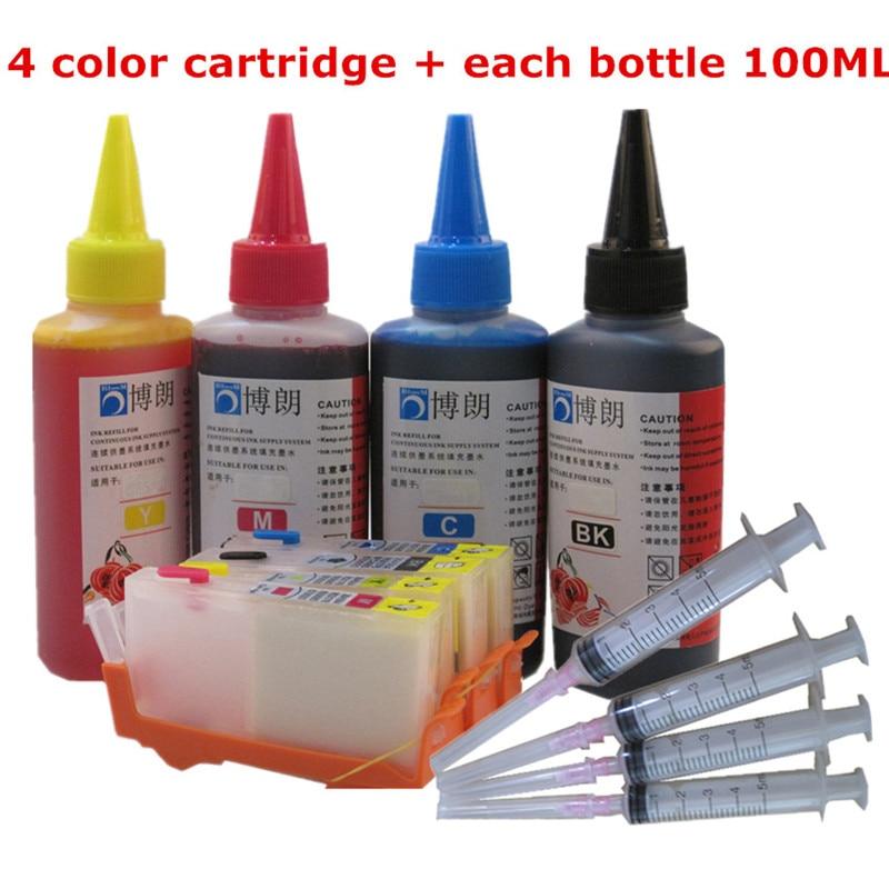 BLOOM for hp  655 Refillable ink cartridge for HP Deskjet 3525/4615/4625/5525/6520/6525 + Dey ink bottle 4 color Universal 400ML