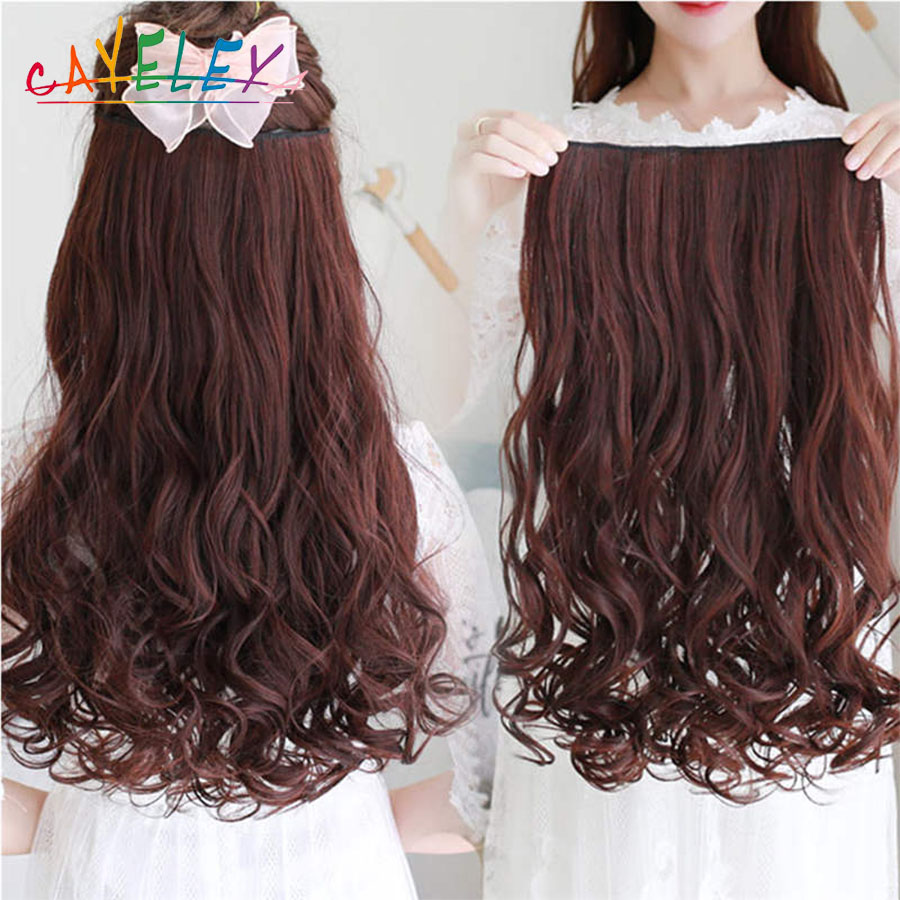 Cateleya Various Sizes Long Wavy 5 Clip In Hair Extensions Heat Resistant Natural Synthetic Fake Hairpieces False Hair