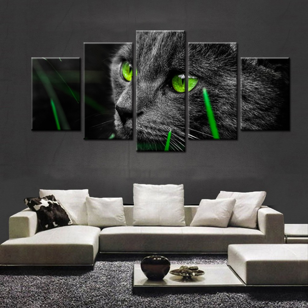 Direct Selling New 5 Pieces Animal Eyes For Cat Wall Art Picture Home Decoration Living Room Canvas Print Unframed Printing