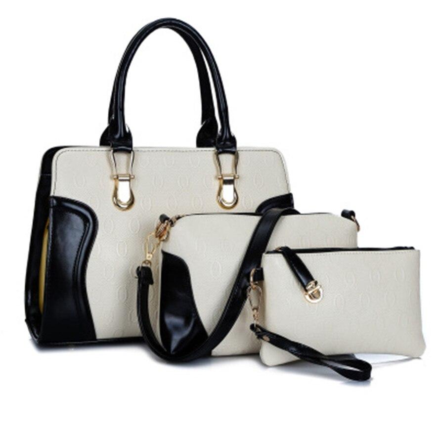 ФОТО 2017 women's spring Hit color handbag fashion brief picture package big bags female handbag shoulder messenger bag Pack 3 sets