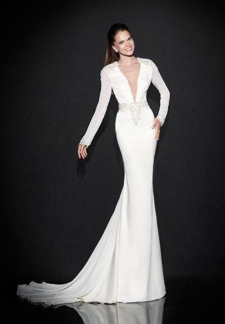 White Mermaid Evening Dress Long Sleeve Women Dresses For Special