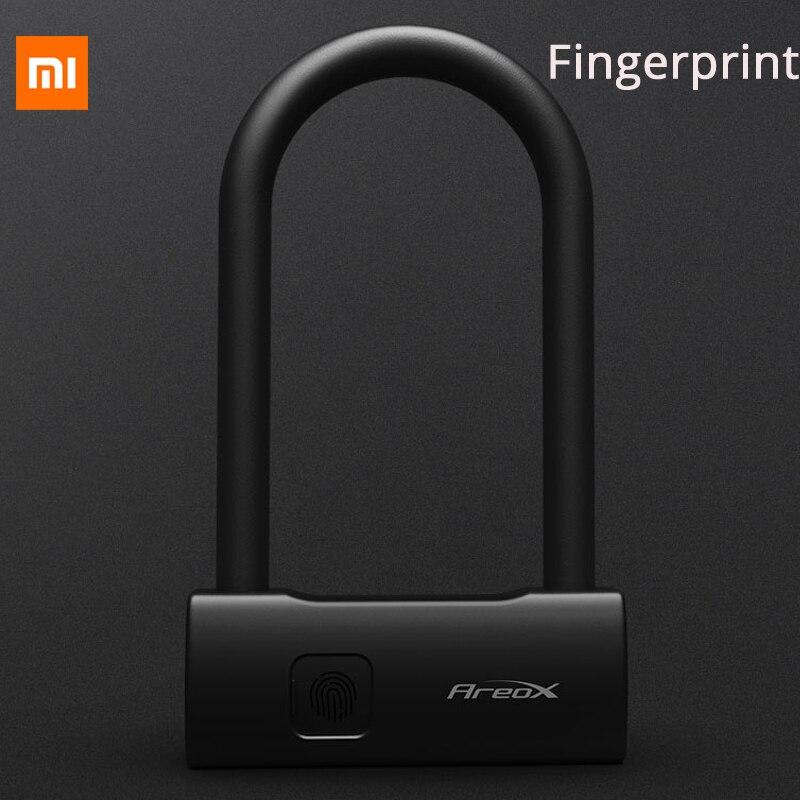 2019 Xiaomi AreoX U8 Inteligente Fingerprint U-bloqueio Anti-roubo cadeado de Bicicleta Bloqueio Motocicleta Fechamento Da Impressão Digital USB para bicicleta himo bloqueio