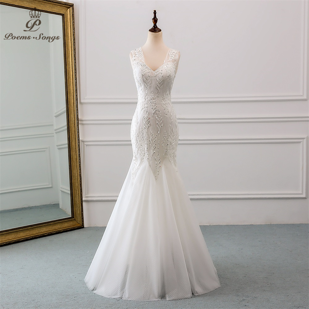 PoemsSongs 2019 new beautiful sequined lace wedding dress robe mariage Vestido de noiva Mermaid wedding dresses