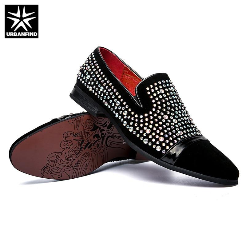 Taille Cuir Urbanfind Oxford Casual Nouvelle 38 Mocassins on En Suede 43 Strass Conception Mode Black Chaussures Hommes Slip wrIrU7