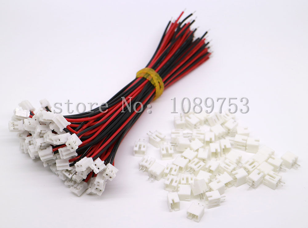 50 SETS Mini Micro JST 2.0 PH 2-Pin Connector plug with Wires Cables 100MM 20 sets mini micro jst 2 0 ph 7 pin connector plug with wires cables 100mm 10cm