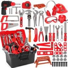 Caja de Herramientas para niños, herramientas de reparación de simulación, ingeniero, Kit de taladro de carpintería, juego de reparación de destornillador
