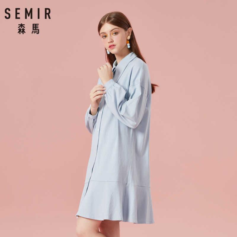 SEMIR женское платье из 100% хлопка с длинными пышными рукавами, расклешенное платье с декоративный воротник, женские форменные платья до колена на весну и осень