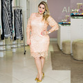 Plus Size Charming 2016 New Summer Sexy Three Quarter Sleeve Knee-Length Lace Cocktail Dresses Party Dress robe de cocktail