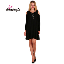 Dasbayla 2017 Autumn Women Casual Tunic Dress With Pockets Off The Shoulder Long Sleeve Solid Dresses O-Neck Empire