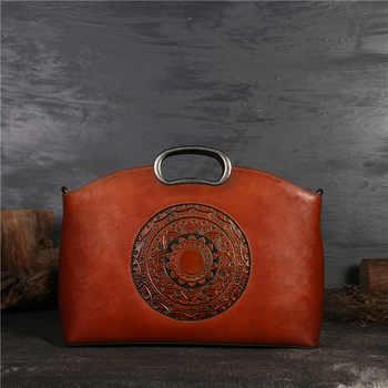 Nesitu Vintage Fashion Green Grey Brown A4 Genuine Leather Women Handbags Tote Messenger Bags Female Shoulder Bag M1157 - Category 🛒 Luggage & Bags