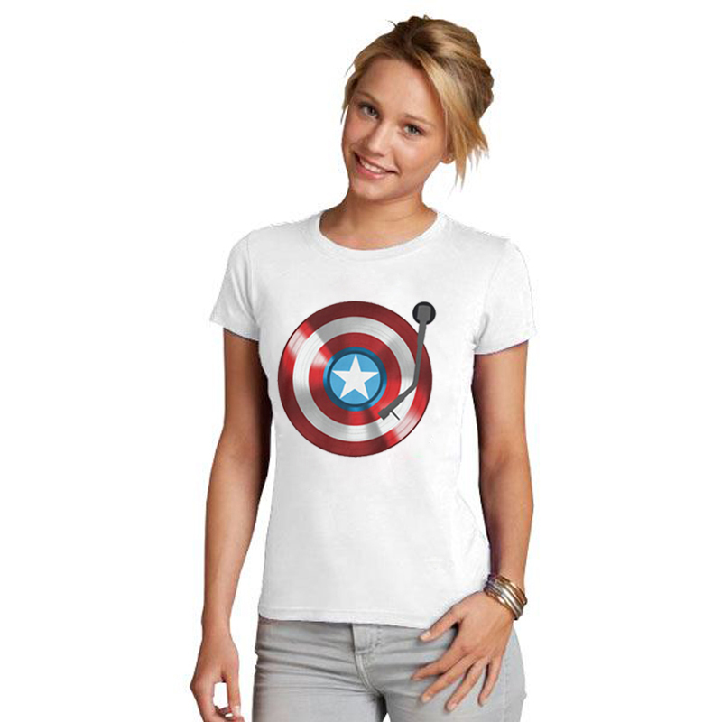 LUSLOS Captain America Gramophone Print Super Hero Women Tshirt Marvel Comics Superman Female Short Sleeve Summer Women T Shirt in T Shirts from Women 39 s Clothing