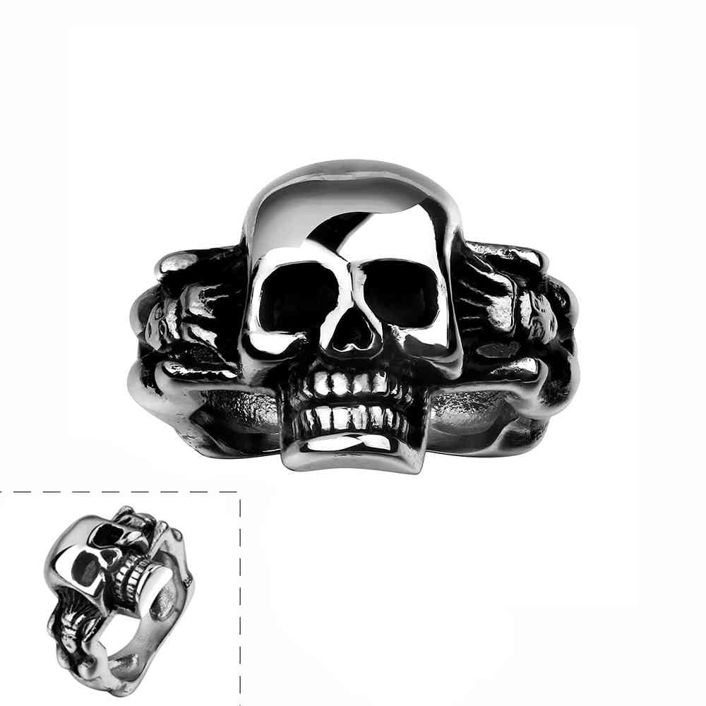 free shipping best gift stainless steel wedding rings skull head anel masculino wedding jewelrychina - Skull Wedding Rings