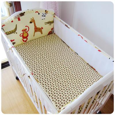 Promoção! 5 pcs nova malha crib bedding set algodão folha de cama de bebé berço bumper set, incluem (4 amortecedores + folha)