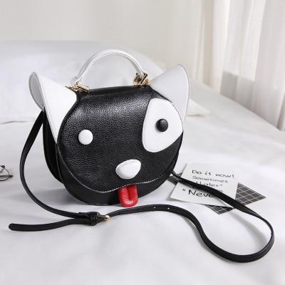 2018 filles animaux imprime noir croix-corps sacs Mini mignon chien blanc Messenger sacs femmes 3D en cuir petit fourre-tout sac à main pour la fête