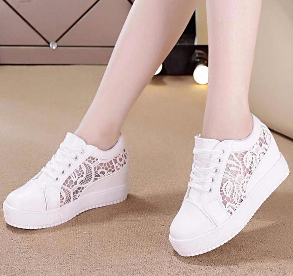 Frauen Keil Plattform Gummi Brogue Leder Lace Up High heel 7 cm Schuhe Spitz Zunehmende Creepers Weiß Silber Turnschuhe