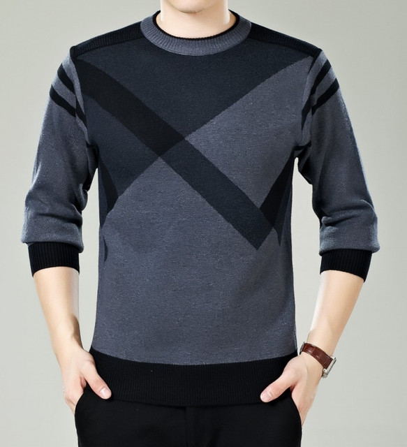 men sweater winter round neck knitted sweaters male casual autumn Cashmere pullovers mens Thick warm jumper plus size M-3XL