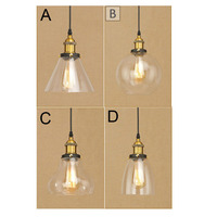 E27 Retro Vintage Pendant Light Clear Glass Lampshade Loft Pendant Lamps 110V 220V for bar /Dining Room Home Decoration Lighting