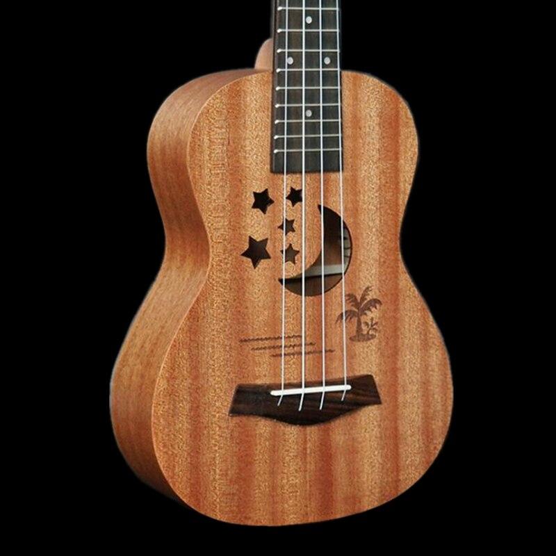 Ukulélé électrique acoustique 23 pouces Mini guitare hawaïenne 4 cordes Ukelele sapele corps étoile lune partten avec ramassage EQ