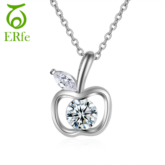 Er small hollow crystal apple pendant necklace women cute silver er small hollow crystal apple pendant necklace women cute silver color delicate fruit jewelry collier femme mozeypictures Image collections