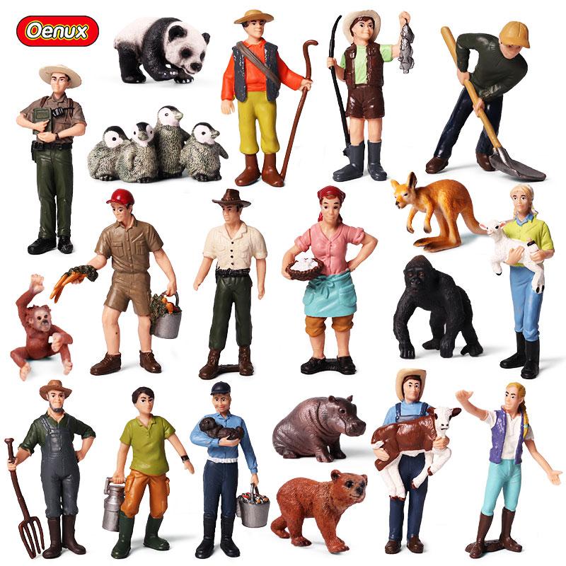 Oenux Simulation Farm Animals Goose Duck Horse Action Figures Farmer Feeder Shepherd Wrangler Figurines Model Collection Toy