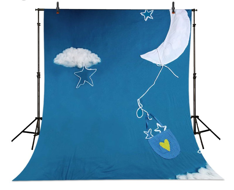 Cartoon Clouds Moon Sky Blue Cloth backdrop Vinyl cloth High quality Computer printed newborns Photography Backgrounds