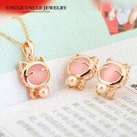 Perfect Gift!! Rose Goud Kleur Opal en Gesimuleerde Parel Leuke Kitty Ontwerp Vrouw Sieraden Set Ketting/Earring Groothandel
