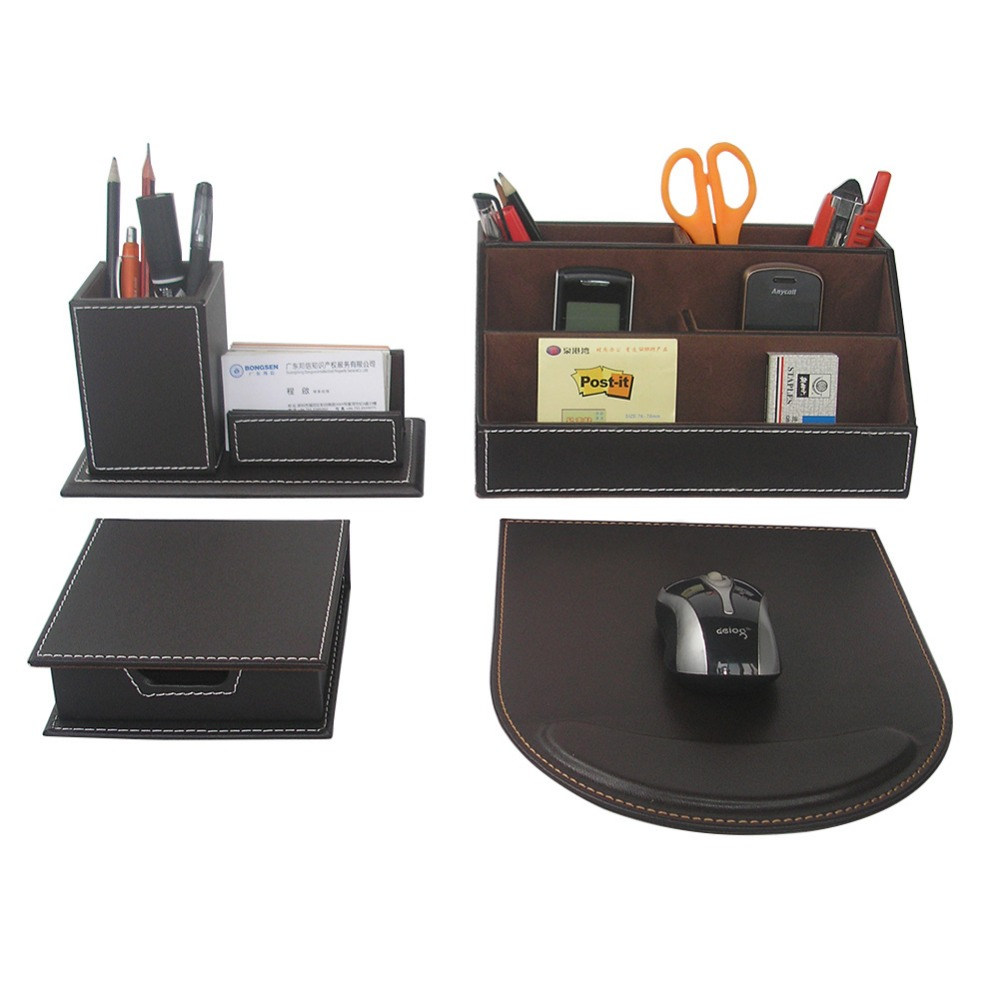4pcs set leather desk stationery accessories organizer pen holder box mouse pad