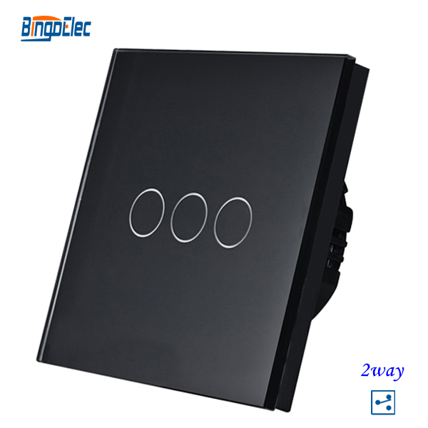 3gang 2way black crystal toughened glass panel touch switch,smart sensor light switch EU/UK standard AC110-240V Hot Sale uk standard black crystal glass panel 2 gang 2 way wall switch intelligent touch screen light touch switch led ac 220v