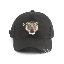 Summer Animal Baseball Cap With Iron Ring Tiger Embroidery Hip Hop Snapback k pop Hats For Men Women Fitted