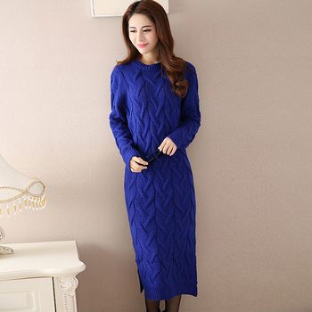 Fashion Winter knitted Sweater Dress Women Clothes Loose Thicken Ladies Knitted O-neck Casual Dress