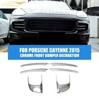 6PCS/Set ABS Chrome Decor Strip Front Bumper Trims Covers Frames Fit For Porsche Cayenne 2015 Car Styling