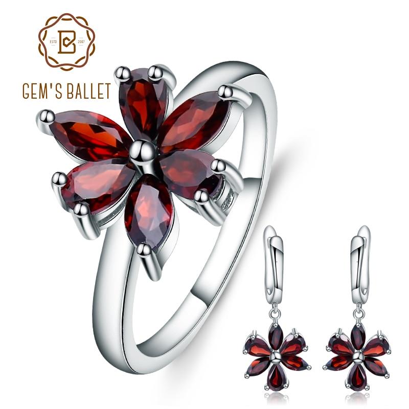 GEM S BALLET 4 16Ct Natural Red Garnet Gemstone Jewelry Set 925 Sterling Silver Earrings Ring